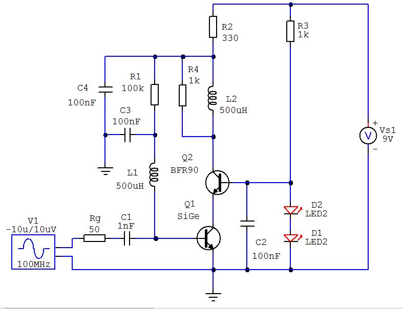 Amplificator cascoda cu tranzistor SiGe si bipolar cu Si - CQ-YO