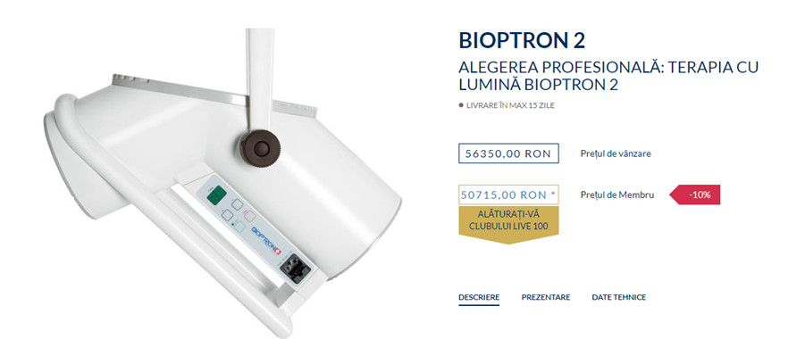 Cerere de tratament comun bioptron - Terapia oftalmică